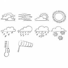 Kreativspielzeug, Wetterstempel, 10-teiliges Set zum Stempeln der gängigsten Wettersymbole - Bild vergrößern