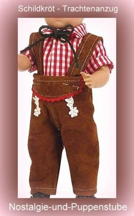 Schildkröt Puppenkleidung Puppen Trachtenanzug mit kariertem Hemd für 25 cm Puppen, Nr. 25551  - Bild vergrößern