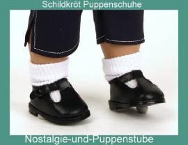 Schildkröt Puppenkleidung Puppenschuhe schwarze Stegschuhe für 5 cm Fußlänge 34177  - Bild vergrößern