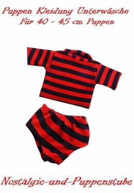 Puppen Kleidung Unterwäsche Unterhose Unterhemd gestreift  2-teilig für 40 cm Puppen 1244 - Bild vergrößern