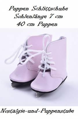 Puppen Schuhe rosa Schlittschuhe Sportschuhe Eislaufen 7 cm lang, Nr.  669 - Bild vergrößern