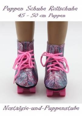 Puppen Schuhe Glitzer Rollschuhe RegenbogenSportschuhe Skates 8 cm lang , Nr. 8839 - Bild vergrößern