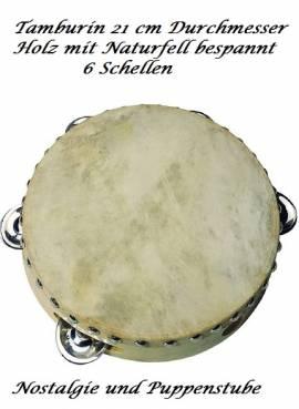 Rythmusinstrument Tamburin 21 cm aus Holz mit Naturfell 6 Schellen, Nr.455 - Bild vergrößern