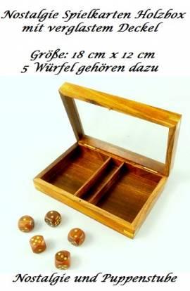 Nostalgie Antik Spielkarten Holzbox mit Würfeln, Nr. 576 - Bild vergrößern