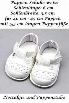 Puppen Schuhe Sommer Schuhe Stegschuhe weiß 6,5 cm Sohlenlänge, Nr. 274 - Bild vergrößern