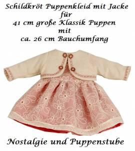 Schildkröt Puppen Kleid mit pink Unterkleid und Jacke für 41 cm Klassik Puppen, Nr. 41770 - Bild vergrößern