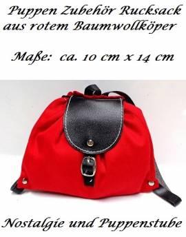 Puppen Rucksack rot aus Baumwoll-Köper 14 x 10 cm zum Spielen oder Dekorieren, Nr. 118 - Bild vergrößern
