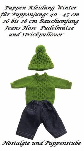 Puppen Kleidung Winter Pullover Hose Mütze für ca. 40 cm Puppenjungs, Nr. 321 - Bild vergrößern