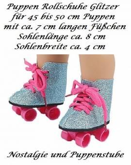 Puppen Schuhe blau Glitzer Rollschuhe Sportschuhe Skates 8 cm lang, Nr. 339 - Bild vergrößern