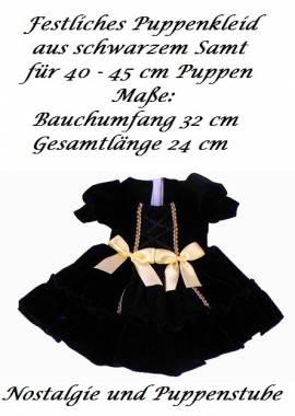 Puppen Kleid festliches Kleid Samt schwarz Goldborte Satinschleifen für 40 bis 45 cm Puppen, Nr. 342 - Bild vergrößern