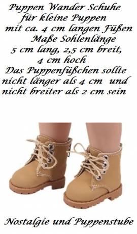 Puppen Schuhe Wanderschuhe ockerfarben für kleine Puppen mit 4 cm Füßchen, Nr.349 - Bild vergrößern