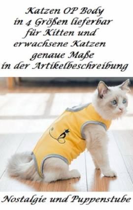 Wundschutz Body gelb für Katzen bei Verletzung oder OP 22 cm Rückenlänge S, Nr. 348 - Bild vergrößern