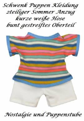 Schwenk Puppen Sommer Anzug weiße Hose buntes Oberteil für  20 - 22 cm Puppen, Nr. 10723 - Bild vergrößern