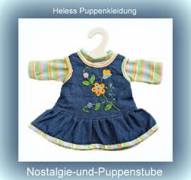 Heless Puppenkleidung für 35 cm bis 45 cm Puppen Jeans Trägerkleid mit T-Shirt, Nr. 510