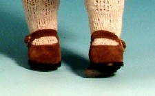 Schildkröt braune Velourschuhe für 41 cm Puppe 6 cm Fußlänge, 41178 braun